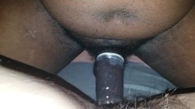 Fat hairy pussy takes black..