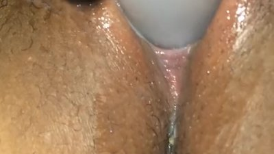 Creamy pussy all over my toy