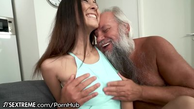 Grandpa Greets Teen Lover in..